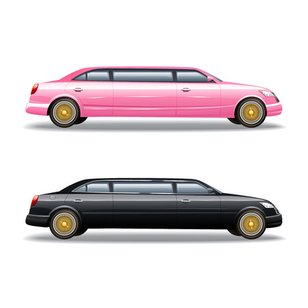 Luxury limousine car for celebrities or government politicians two isolated banners icons in pink and black vector illustration Illustration