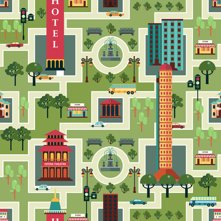 infrastructure buildings: City seamless pattern with urban infrastructure on green background vector illustration