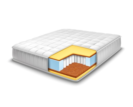 orthopedic: Double comfortable orthopedic mattress cut out in realistic style with layers view isolated vector illustration