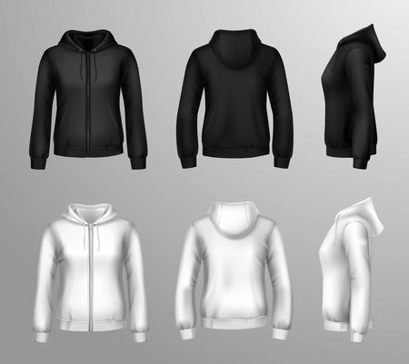casual hooded top: Realistic black and white hooded sweatshirts for women with front back and side view isolated vector illustration