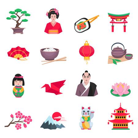 colección japonesa de cultivo plana con iconos sakura ceremonia del té y de la grúa de papel símbolos ilustración abstracta aislado del vector