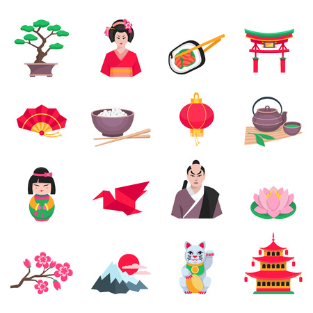 japanese culture: Japanese culture flat icons collection with tea ceremony sakura and paper crane symbols abstract isolated vector illustration Illustration