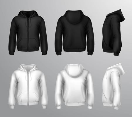 Set of black and white male hooded sweatshirts in realistic style isolated vector illustration