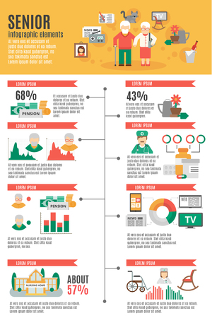 cartel de infografía de gente mayor que el estilo de vida estadística incluyendo servicio de enfermeras de pensiones y pasar tiempo ilustración vectorial plana