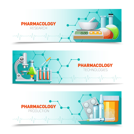 pharmacology: Pharmacology scientific research technologies and production 3  horizontal banners set with molecule structure abstract isolated illustration vector
