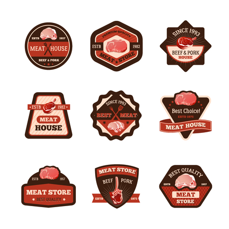 roast lamb: Meat store emblems set with best choice symbols flat isolated vector illustration