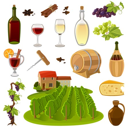 wine red: Wine production and use process elements cartoon isolated icons set vector illustration