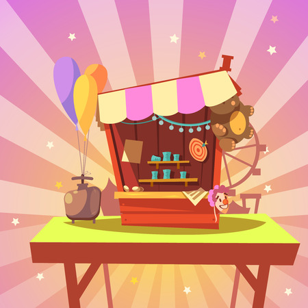 shooting: Amusement park cartoon with shooting gallery with prizes on abstract background retro style vector illustration