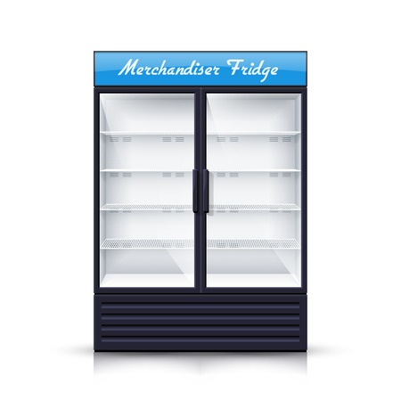 refrigerator with food: Empty vertical refrigerator for with two transparent front panels for cooling drinks and products isolated realistic vector Illustration