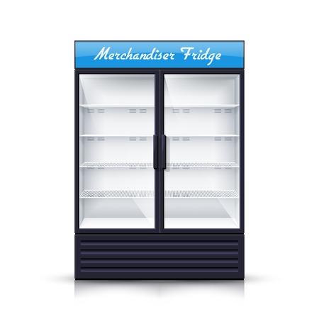 Puste pionowe chłodnia z dwiema przezroczystymi panelami przednimi dla napojów i wyrobów chłodzenia odizolowane realistyczne ilustracji wektorowych