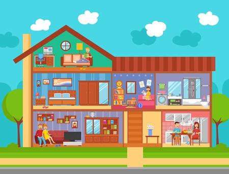 만화 스타일 벡터 일러스트 레이 션 가구 부모와 자녀 방, 부엌과 욕실 가정의 내부 평면 설계 개념