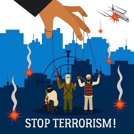marioneta: Dejar de concepto de terrorismo con la ciudad de avión y títeres terroristas ilustración vectorial plana