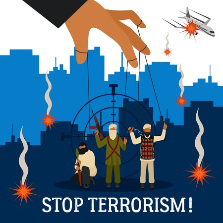 Stop terrorism concept with city plane and puppet terrorists flat vector illustration
