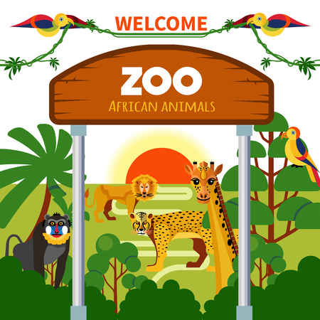 Zoo african animals with exotic birds at sunrise or sunset vector illustration