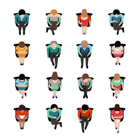 Hoogste mening over zittende bedrijfsmensen met koffiekappen of het lezen van brieven vlak geïsoleerde pictogrammen vectorillustratie