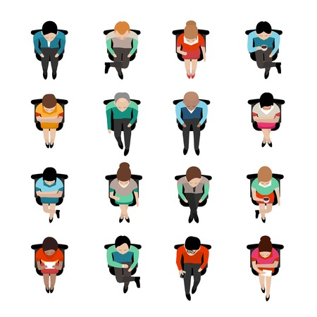 Top view on sitting business people with coffee caps or reading letters flat isolated icons vector illustration