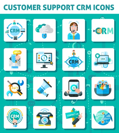 Customer support CRM square icons set with computer and laptop flat isolated vector illustration