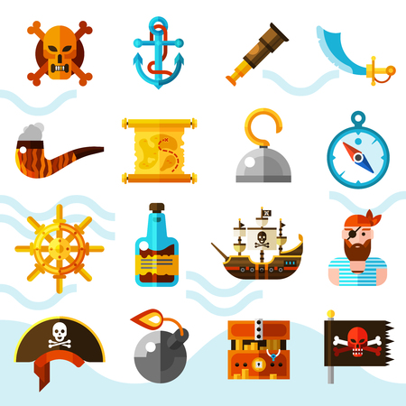 one eyed: Pirates flat color icons set with wooden chest of gold anchor binoculars compass helm and black flag with red skull isolated vector illustration Illustration