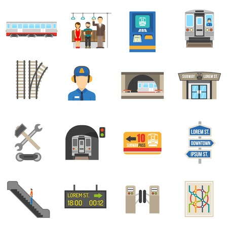 Underground icons set of different city subway elements like ticket train or escalator flat isolated vector illustration Çizim