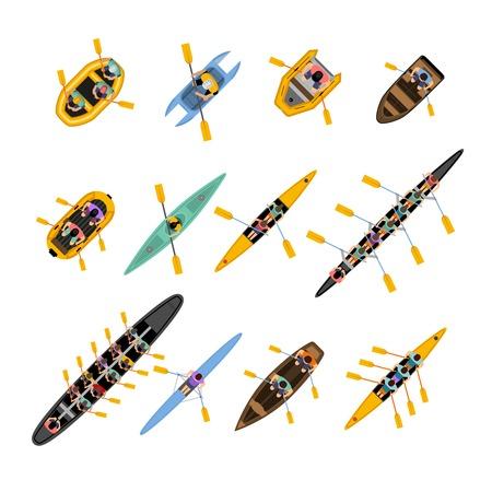 bateau: Rafting kayak vue de dessus fix� avec des bateaux de diff�rentes formes et couleurs avec des gens � l'int�rieur isol� illustration vectorielle