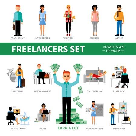 Trabajadores independientes establecidos con ventajas del trabajo que incluye iconos de ilustración vectorial especialistas