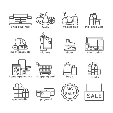 sale icons: Shopping flat line icons set with sale offer and payment symbols isolated vector illustration Illustration