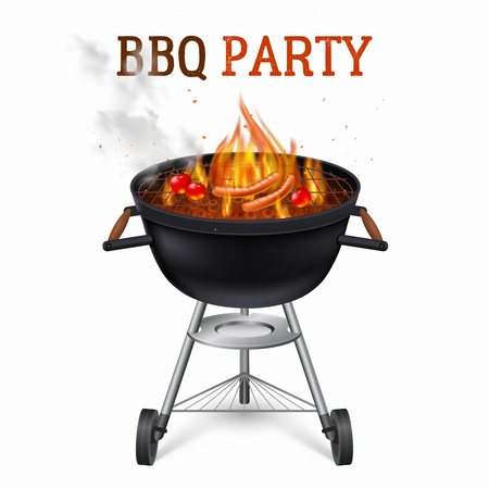 Portable barbecue party grill with sausages and tomatoes realistic vector illustration