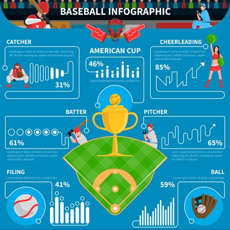 pitcher: Baseball infographics elements with game statistics on blue background vector illustration