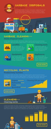 appliances icons: Infographic garbage flat layout with waste removal and cleaning appliances icons and recycling plants productivity statistics vector illustration