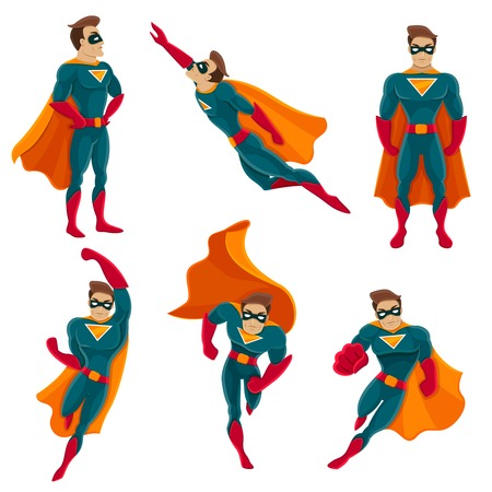 in action: Superhero actions icon set in cartoon colored style different poses vector illustration