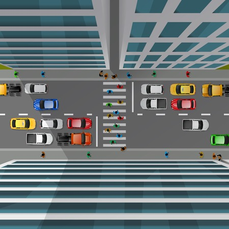 rules of road: City traffic top view with cars pedestrian crossing and skyscrapers 3d vector illustration