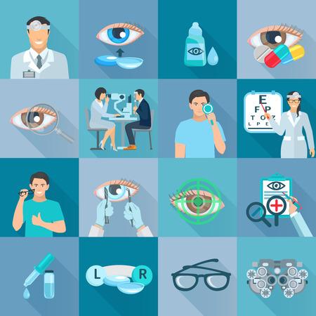 oculista: El oftalmólogo pruebas de tratamientos clínicos y recogida iconos planos corrección de la visión con gafas de ilustración abstracta aislado sombra vector