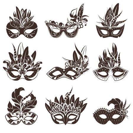 Maschera nera icone bianche fissati per piatta illustrazione masquerade e teatro prestazioni vettore isolato Vettoriali