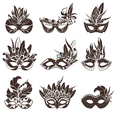 white mask: Mask black white icons set for masquerade and theatre performance flat isolated vector illustration