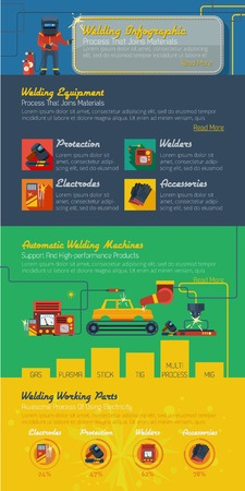 gas cylinder: Welder infographics layout with presentation of automatic welding machines modern protection elements electrodes and accessories flat vector illustration Illustration