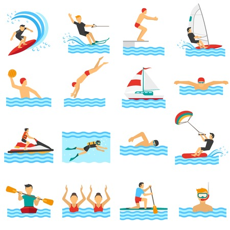 water skiing: Flat decorative icons set of rowing swimming windsurfing waterpolo with people in water sport isolated vector illustration