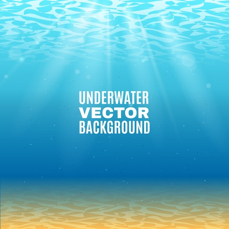 Underwater background  in light blue tone with sand sunrays falling from the waves vector illustration Illustration
