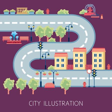 floor mat: City street flat design schema for navigator or kids floor play mat poster print abstract vector illustration