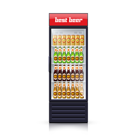 single object: Fridge dispenser machine cooling and selling best budget beer decorative single object poster realistic vector Illustration Illustration