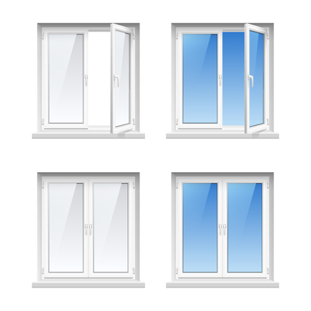 cost saving: Energy cost saving easy to care plastic pvc window frames 4 realistic icons set isolated vector illustration
