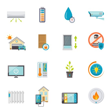 security system: Smart house flat icons set with electronic technologies for comfort and safety isolated vector illustration