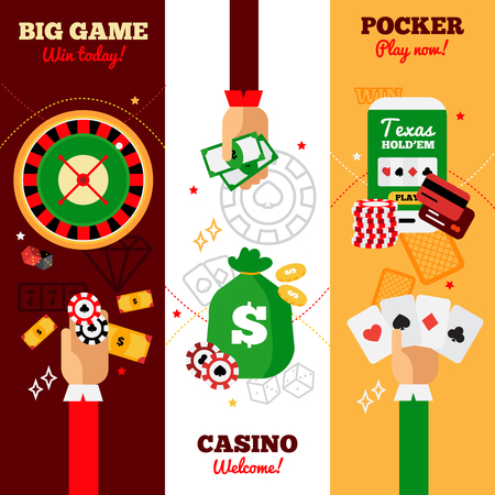 poker hand: Casino vertical banners design concept advertising big game casino welcome and pocker falt vector illustration