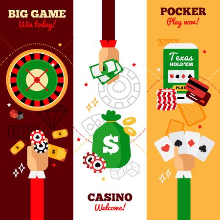 big game: Casino vertical banners design concept advertising big game casino welcome and pocker falt vector illustration