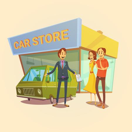shop assistant: Car dealer and clients cartoon concept with car store building vector illustration