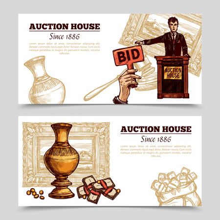 purchasing manager: Auction house horizontal banners with manager and rare vase on auction theme background sketch doodle vector illustration