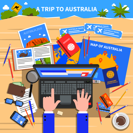 calculating: Trip to Australia concept with planning and calculating expenses symbols flat vector illustration Illustration