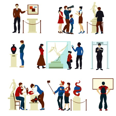 visitors: People in museum gallery flat color icons with visitors keeper sculptures pictures and working artists isolated vector illustration