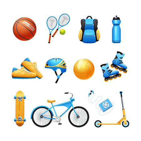 aparatos electricos: Verano actividades al aire libre material de deporte plana colección de iconos con raquetas de tenis y bicicletas abstracta ilustración vectorial Vectores