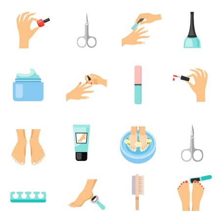 toenail: Manicure and pedicure flat Icons set with foot file nail varnish and clippers abstract isolated vector illustration