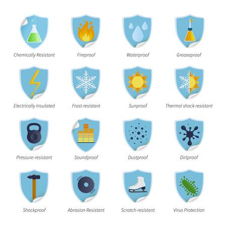 productos quimicos: pegatinas de color planos de la prueba de protecci�n a prueba de agua para la presi�n sunproof y productos resistentes a productos qu�micos aislados ilustraci�n vectorial